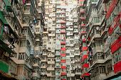 stock photo of derelict  - Old apartment in Hong Kong - JPG