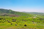 foto of golan-heights  - Crossroads and Fields in Golan Heights Early Spring - JPG