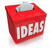 A red Ideas box for submission of creative and innovative thoughts on making a new product or proces