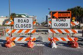 image of barricade  - Road Closed Sign on Street Repair - JPG