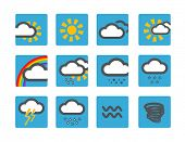 Forecast weather icons set Ã??Ã???Ã??Ã??? blue buttons