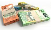 image of oz  - A stack of bundled australian dollar notes on an isolated background - JPG