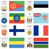 picture of eritrea  - world flags of Eritrea Estonia Ethiopia Fiji Finland France Gabonese Republic and Gambia with capitals geographic coordinates and coat of arms vector art illustration - JPG