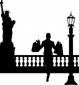 Woman in shopping in New York silhouette