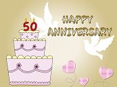 image of 50th  - card for 50th anniversary with big cake and dove - JPG