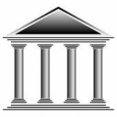 foto of greek-architecture  - Bank icon on white background  - JPG