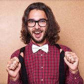 stock photo of suspenders  - Hipster guy - JPG