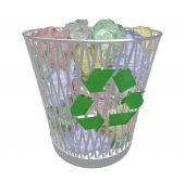 picture of waste reduction  - A metal basket contains many crumpled up colored papers symbolizing the recycling movement - JPG