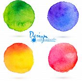 stock photo of circle shaped  - Four vector colorful watercolor circle splashes set - JPG