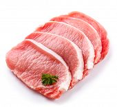 stock photo of pork chop  - Fresh raw pork chops on white background - JPG