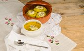 stock photo of seder  - Matza ball soup a passover seder classic - JPG