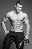 picture of jock  - The beautiful and strong young muscular guy - JPG