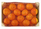 stock photo of clementine-orange  - box of healthy fresh clementines on a white background - JPG
