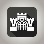 stock photo of turret arch  - Black and white flat castle icon with shadow for web and mobile applications - JPG