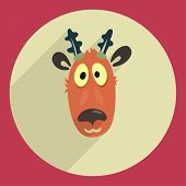 foto of deer head  - Flat design cartoon head of a deer Greeting Card art and illustration - JPG