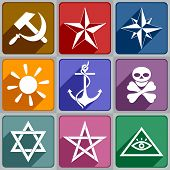 stock photo of hammer sickle  - Set of icons symbols of different color - JPG