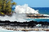 pic of shoreline  - Large wave hits the black lava shoreline of Mackenzie State Park on the Big Island of Hawaii.