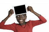 African Girl Showing Tablet Pc, Free Copy Space