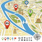stock photo of poi  - Abstract city map with places of interest - JPG