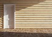 stock photo of chalet interior  - modern interior of wooden house - JPG