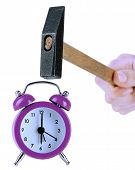 foto of stop hate  - Hammer in hand and alarm clock isolated on white - JPG