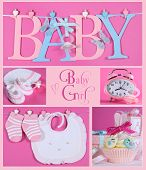 picture of girlie  - Collage of five pink theme baby girl images and sample text of BABY letters bunting hanging from pegs on a line booties and bonnet nursery clock and beautiful cupcake - JPG