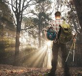 stock photo of sleeping bag  - Traveler with backpack - JPG