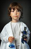 image of retort  - child with retort and microscope - JPG
