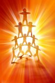 image of human pyramid  - Human team pyramid together on bright background - JPG