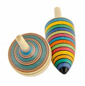 picture of spinner  - vintage wooden toy spinners isolated on white background - JPG
