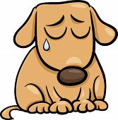 foto of emaciated  - Cartoon Illustration of Cute Sad Dog or Puppy - JPG