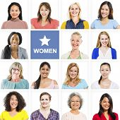 pic of independent woman  - Portrait of Multiethnic Diverse Cheerful Women - JPG