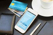 image of electronic banking  - mobile shopping concept   - JPG