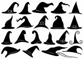 image of witches  - Set of different witch hats isolated on white - JPG