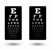 stock photo of snellen chart  - sharp and unsharp black snellen chart with white text and shadow on white background - JPG
