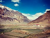 stock photo of himachal  - Vintage retro effect filtered hipster style travel image of Spiti Valley - JPG