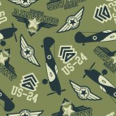 picture of khakis  - WW2 air squadron seamless pattern on a khaki background - JPG