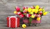 foto of gift basket  - spring tulips in wooden basket red polka - JPG