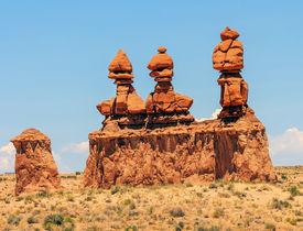 foto of goblin  - Three Sisters Hoodoos Goblin Valley State Park Rock Canyon San Rafael Desert Utah USA Southwest - JPG