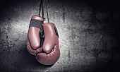foto of knockout  - Pair of red boxing gloves hanging on wall - JPG