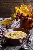 pic of eat me  - Thick white soup with pasta and vegetables - JPG