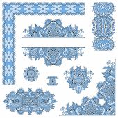 picture of indian blue  - set of blue colour paisley floral design elements for page decoration - JPG
