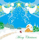picture of angel-trumpet  - Winter landscape with angels and Santa  - JPG
