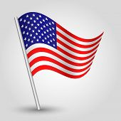 foto of flag pole  - vector 3d waving american flag on pole  - JPG