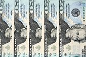 stock photo of twenty dollars  - Twenty US Dollar Banknotes in a row - JPG