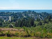 stock photo of coxcomb  - A View of the Astoria Oregon Area from Coxcomb Hill the Location of the Astoria Column - JPG