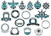 pic of anchor  - Set of nautical or marine themed icons and frames including ships anchors and wheels and circular rope frames and shields - JPG