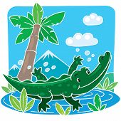 picture of alligator baby  - Children vector illustration of little funny crocodile or alligator swims in the lake - JPG