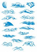 stock photo of marines  - Nautical or marine themed set of blue breaking ocean waves in different design elements - JPG