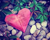picture of discard  -  a discarded paper heart on a rock and ivy vine background toned with a retro vintage instagram filter effect  - JPG